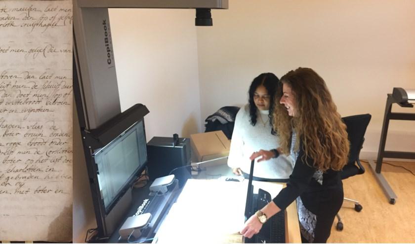 Links een voorbeeld van een archiefscan; een receptenboek van de doktersfamilie Raupp. Rechts zijn Angelique en Marcelina van het nieuwe scanteam bezig om voor een klant een archiefstuk te scannen.