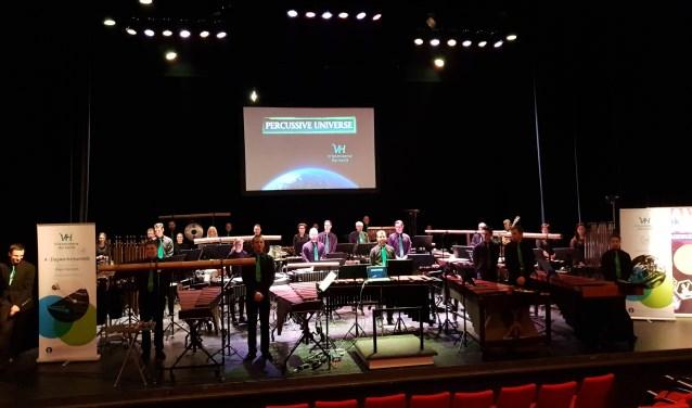 Het Slagwerkensemble van de Vriezenveense Harmonie werd derde op het NK in Oosterhout. Foto: Alex Letteboer