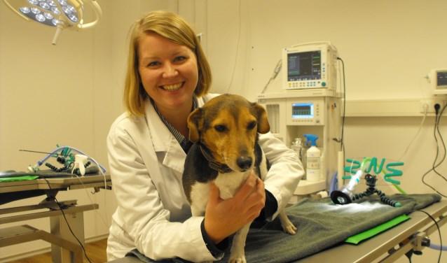 Manon Pallast met een hond in de operatiekamer van Mediscent. De huisdierenkliniek is verruimd.