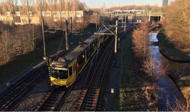 Het centrale kruispunt van de regionale tramlijn, bij de ingang naar de remise in Nieuwegein. Foto bron: Provincie Utrecht
