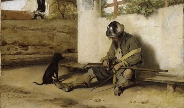 Een doek van Fabritius: Geen hond heeft in de gaten dat iemand stiekem de stad probeert binnen te komen.