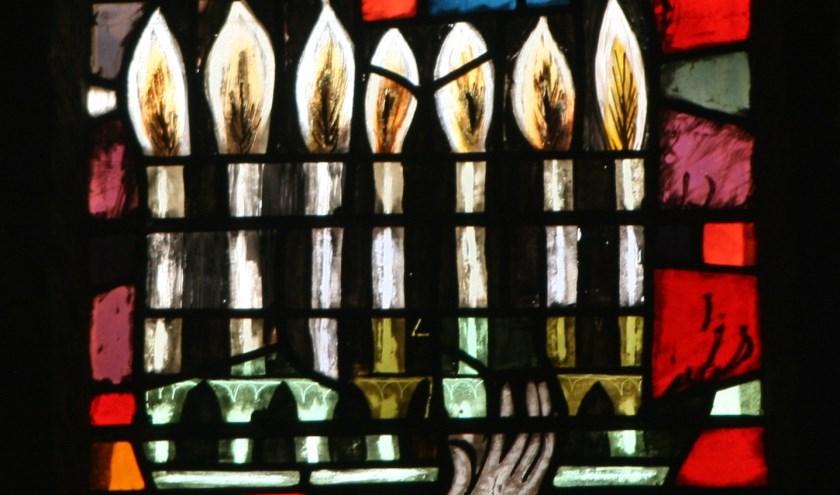 glas in loodraam protestantse Laurentiuskerk