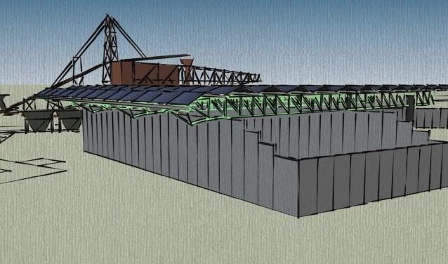 Artist Impressie van de zonnepanelen als een 'dak' op de keerwanden rust. Foto: PR