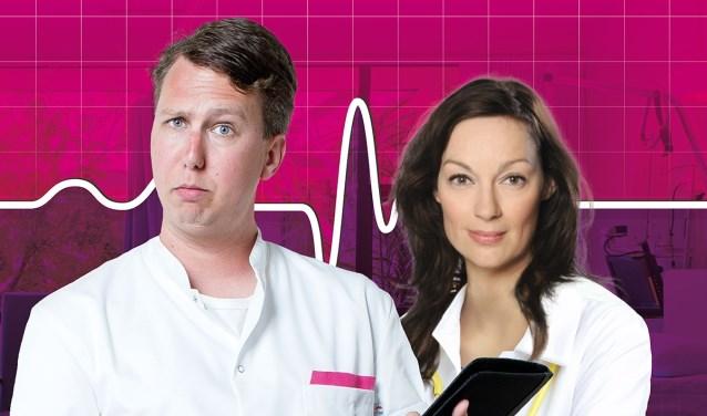 Miryanna van Reeden (rechts) speelt de andere hoofdrol in Medisch Centrum Best. Arijan van Bavel is behalve acteur ook producent.