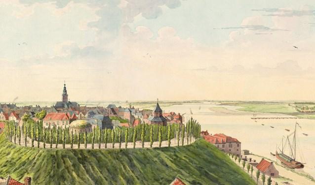Uitsnede van het panorama 'Het Nijmeegsch Rondgezicht' van Derk Anthony van de Wart, uitzicht op het Valkhofpark.