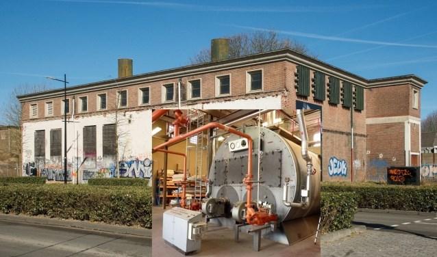 Het ketelhuis van de voormalige NS-werkplaats. Inzet: binnenkant met één stoomketel. www.heemkundekringtilburg.nl