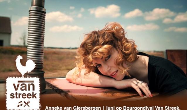 Anneke van Giersbergen is de eerste artiest die Bourgondival Van Streek bekendgemaakt heeft.