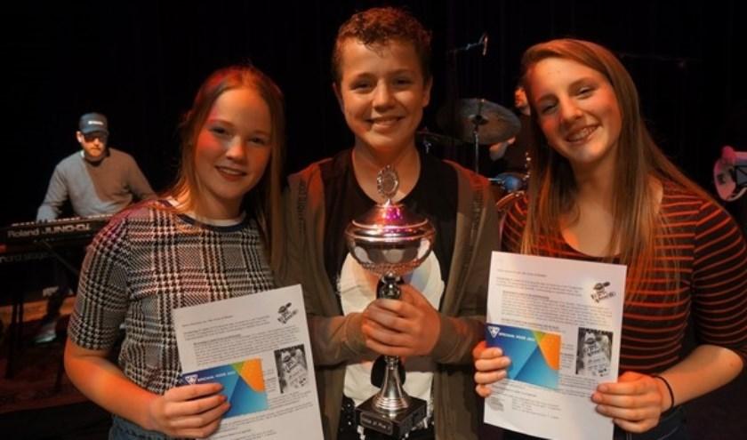 De drie winnaars van Voice Pius X College. Eigen foto.
