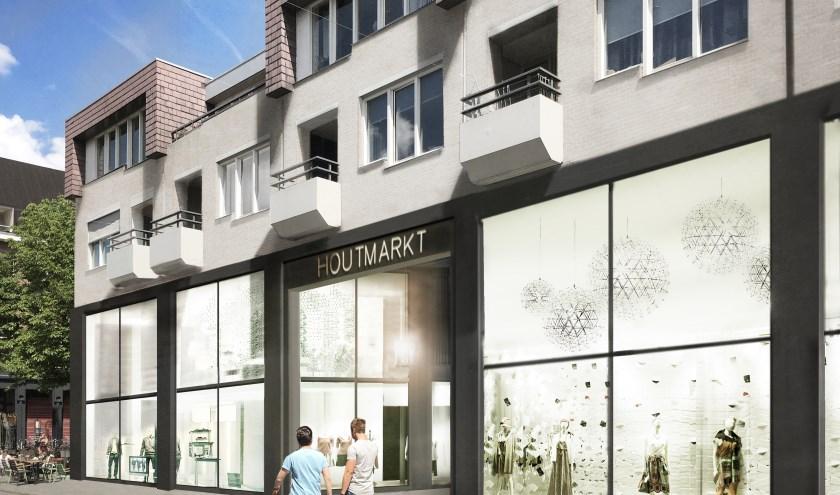 Zo ziet straks de entree van de Houtmarkt in de Ginnekenstraat er uit. In totaal komen er zeventien winkels en ook twee horecazaken in te zitten. De eerste drie namen zijn nu bekend: Superdry, Brandfield en Rituals.