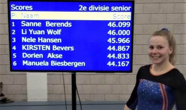 Met de uitslag, die hier op het scorebord wordt geprojecteerd, is Manuela van Biesbergen duidelijk in haar nopjes.