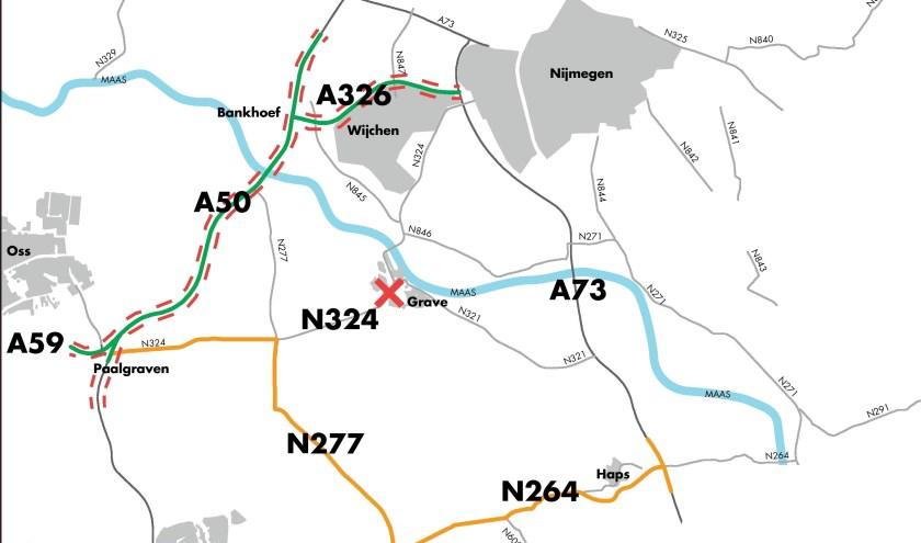 Overzichtskaart van de afsluitingen. Op brabant.nl/N324 staan meer kaarten waarop per periode te zien is welk deel van de weg dicht is.