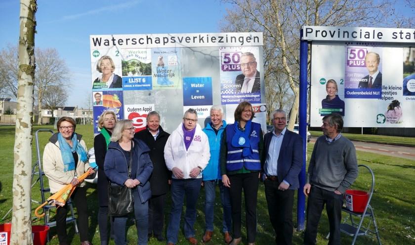De lijsttrekkers van de negen partijen die deelnemen aan de waterschapsverkiezingen van waterschap De Dommel.