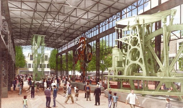 Het ontwerp van West 8: een culturele markthal, geïnspireerd op het voormalig Hijsch-gebouw, een kleiner plein en veel levendigheid. Foto: West 8