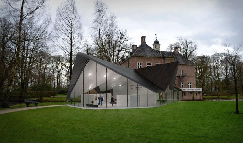 De virtuele Van Heelvleugel met de Hollandse meesters uit de Van Heelcollectie wordt schuin achter het kasteel geprojecteerd boven de gracht en is virtueel te bereiken via de Sociëteit van de Kring Werkgevers. Foto: Letink Design Enter.