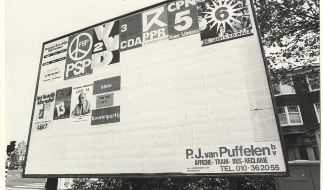Verkiezingsbord tijdens Provinciale Statenverkiezingen van 23 maart 1966.        FOTO: wikimedia