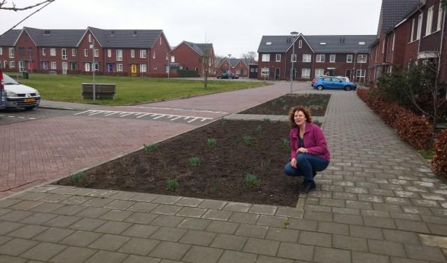 Samen met haar buren in het Hof van Gameren is Marti van Rooij verantwoordelijk voor het onderhoud van de groenvakken in haar straat.