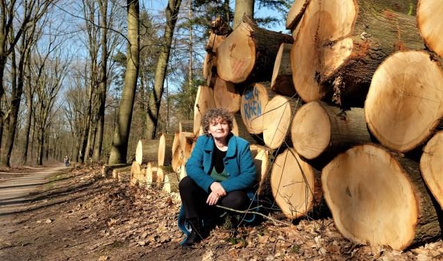Ellen Appeldoorn, lid van de WMR bij een forse stapel gekapte bomen in het Rhenense stadsbos, langs het fietspad tussen Reumersweg en Autoweg. (Foto: Max Timons)