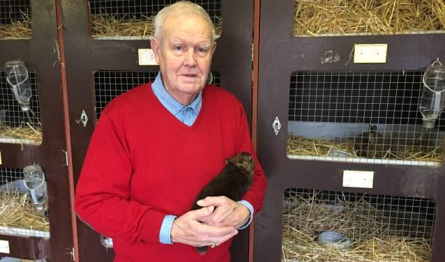 Henk Huisman met zijn Rexdwerg konijn