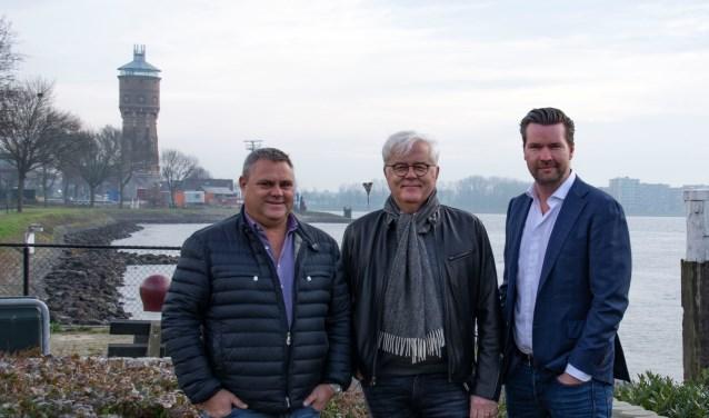 V.l.n.r.: Jan van Laar, Piet de Bruin en Rutger Hoogerwerf, de initiatiefnemers van de Binnenvaartdagen Zwijndrecht.
