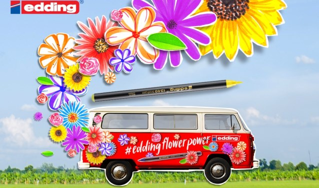 edding flower power bus