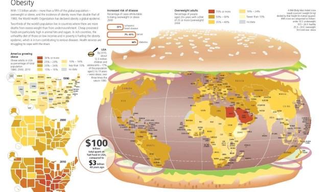 Hoe is gesteld met obesitas op wereldniveau? Het is te zien tijdens de expositie bij TU/e. (Afbeelding: Myriad Editions Limited).