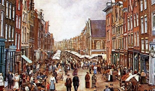 Markt op de Gedempte Botersloot rond 1900. (illustratie via indebuurt Rotterdam)