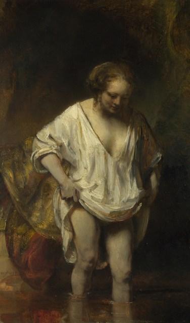 Rembrandt - Een vrouw badend in een stroom (Hendrickje Stoffels)