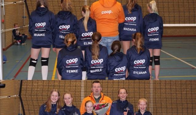 Excelsior volleybal  MC1 met sponsor Pieter Duijzer.