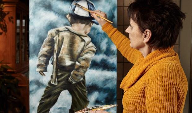 Marianne Blok uit Mookhoek exposeert in galerie Ludiek. (foto: Cor. J. Blok)