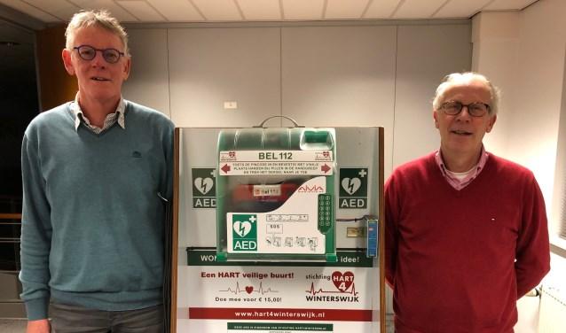 Hans Demkes (links) en Hans van der Meij bij de les demonstratie AED-kast. Foto PR