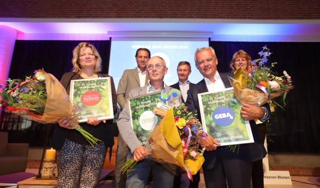 Finalisten MVO Award 2018. vlnr onderste rij: Heleen Vermeulen, Peter van der Kraan, Wilfred Sleijffers. Bovenste rij: Antoine Driessen, Bert Jeenen en Sylvia Fleuren. (Foto: Ger Loeffen)