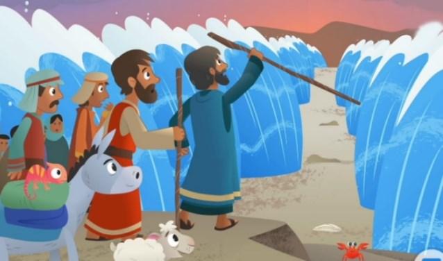 Een bekend beeld van Mozes die de Rode Zee splijt.