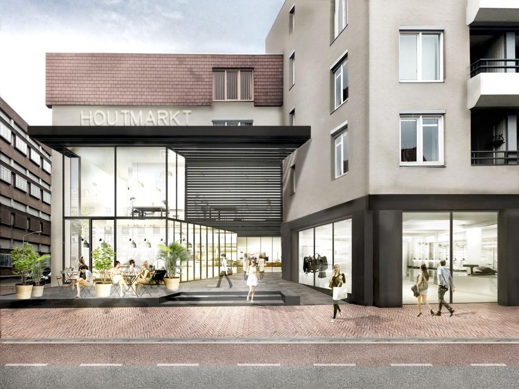 De entree van de nieuwe Houtmarkt op de hoek van de Oude Vest en de Kerkstraat zal er na de complete metamorfose zo uit komen te zien.  © Persgroep