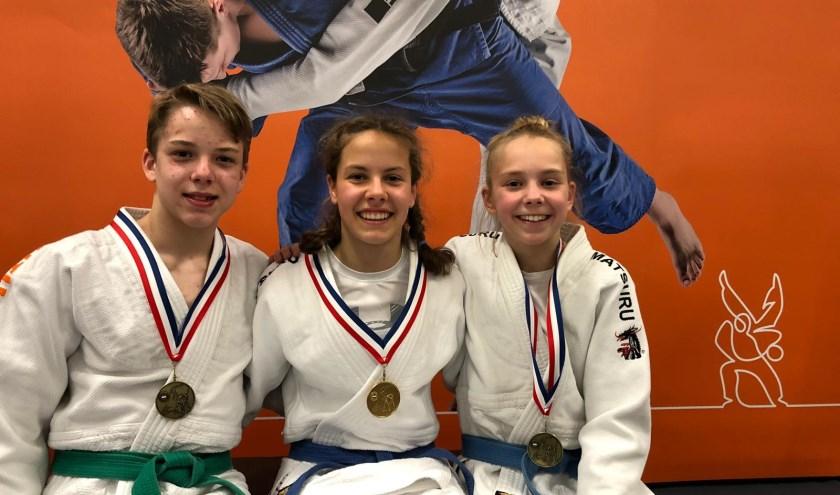 Yven Wehman (links) en twee andere finalisten van het NK Judo dat onlangs in Leek werd gehouden. (foto: PR)