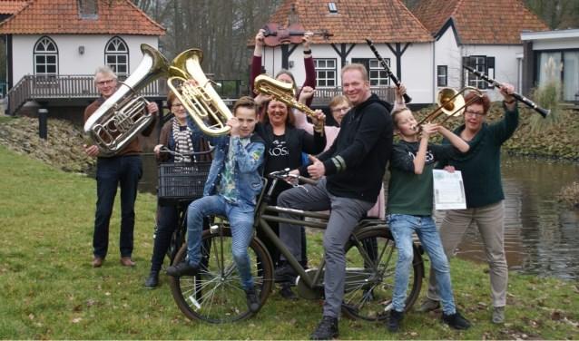 Muzikanten op de fiets