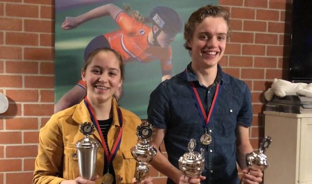 Jasmijn Hiddink en Jan Hein Verhoeff zijn de nieuwe clubkampioenen van de Edese IJsvereniging.