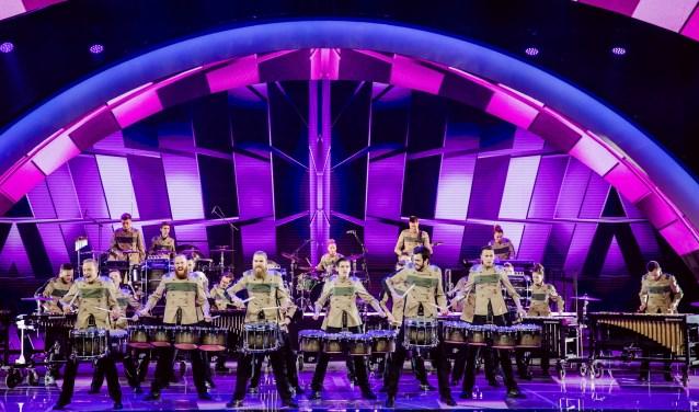 De Belgische slagwerksensatie DrumSpirit - headliner van het showspektakel in Theater de Storm - in actie tijdens Belgium's Got Talent dat vorig jaar werd uitgezonden bij VTM.