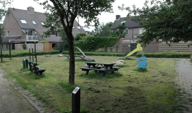 Speelplek tussen de Kleuskes en de Pauwkesstraat in Boxtel die op initiatief van bewoners is aangelegd.