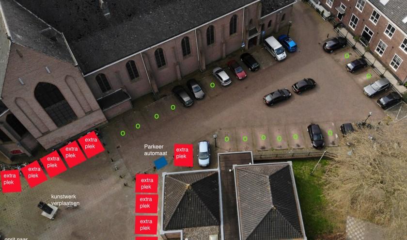 eerste impressie extra parkeerplaatsen rond RK Kerk