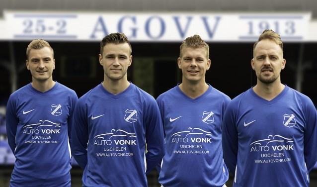 Van links naar rechts Lars Hoekman, Marco Bosz, Kevin Jansen en Rogier van Geerenstein.(foto Dennis Terwel)