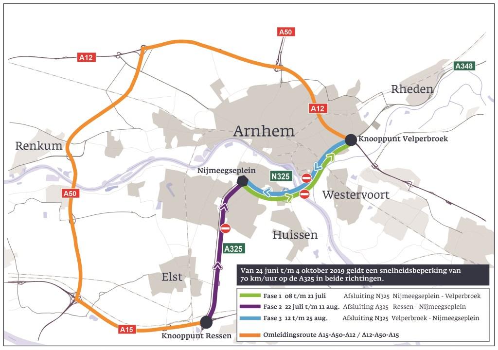 Vanaf 8 juli tot 25 augustus werkt provincie Gelderland aan het onderhoud van de A325/Pleijroute (N325).