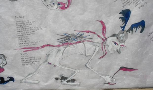 Fragmentvan de getekende-gedichtenrol van Fenneke Hordijk.