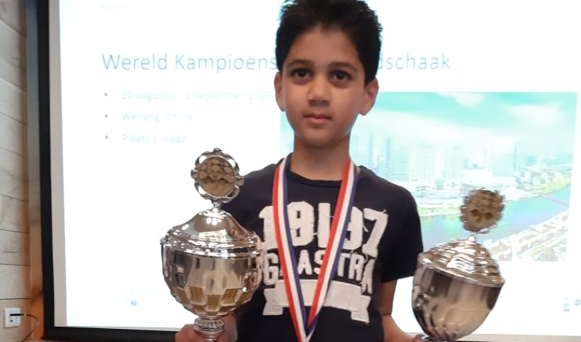 Ansh van schaakvereniging Spijkenisse is Nederlands Kampioen geworden in de categorie t/m 10 jaar.