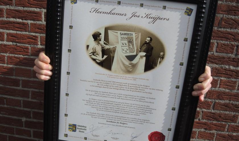 De heemkamer van Sambeeks Heem draagt voortaan de naam van oud-voorzitter Jos Kuijpers. (persfoto)