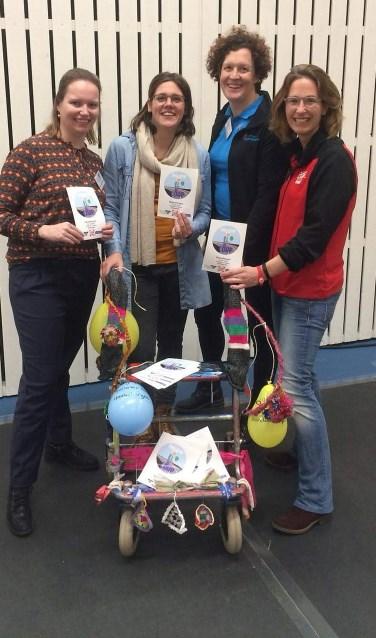 Van links naar rechts organisatoren Lisan Scharenborg, Fieke Haverkate, Rozemarijn van Dijk en Minke ten Bruggencate.