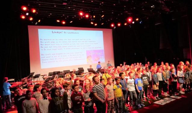 Groep 5 leerlingen Duinsprong tijdens Muziekproject Harmonie Drunen.