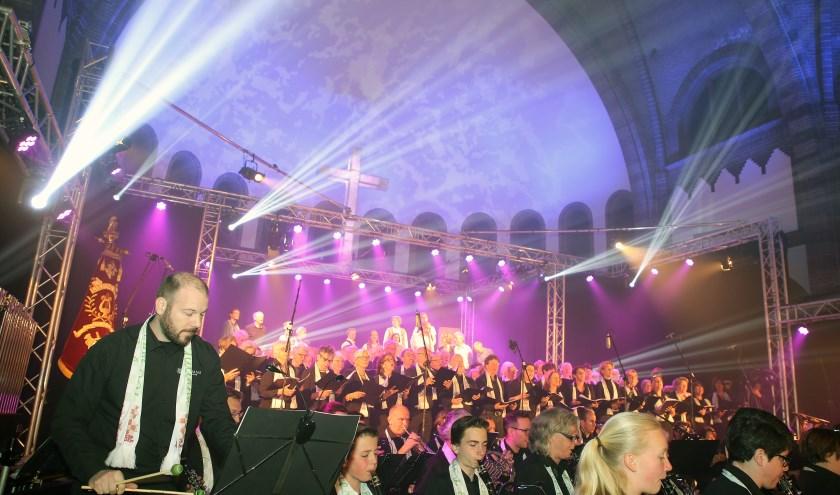 Spektakel zaterdag en zondag in de Willibrorduskerk bij de Kempische Passion. Foto: Theo van Sambeek.