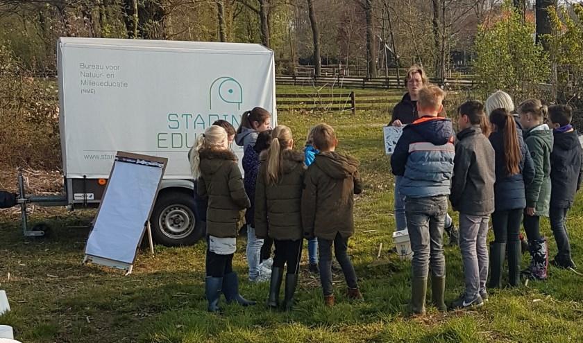 Leerlingen krijgen uitleg over de waterdiertjes in het veen