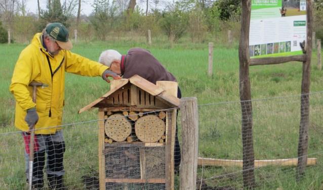 vrijwilligers plaatsen een bijenhotel