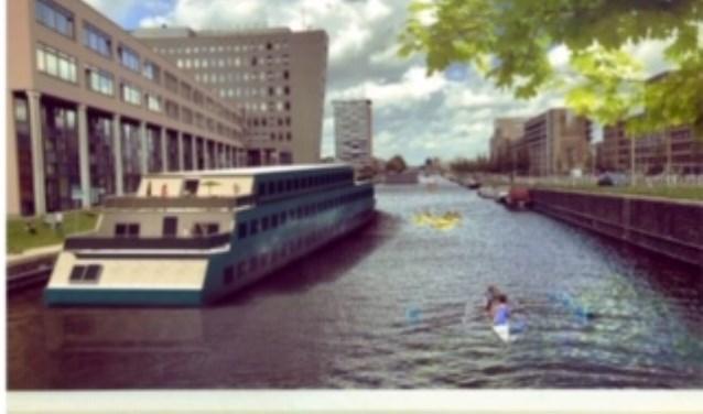 De Studentenbotel zou achter de Haagse Hogeschool in het water moeten komen te liggen.